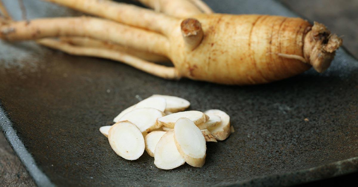 La radice di Ginseng, il cui estratto viene utilizzato per combattere la stanchezza